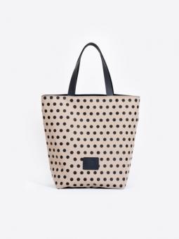 A2 black dots beige cotton